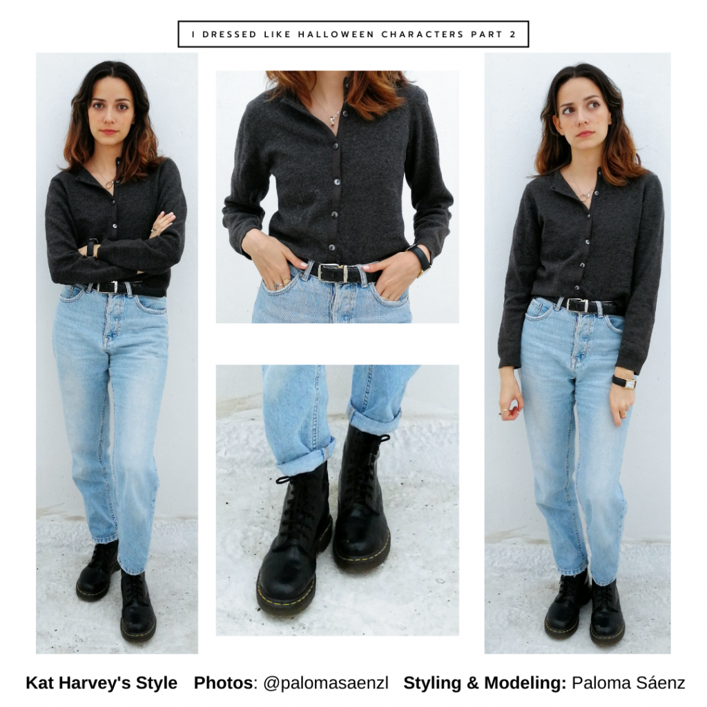 Halloween outfit inspired by Kat Harvey from Casper with mom jeans, combat boots, button-down shirt, belt