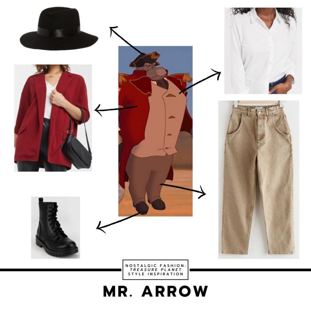 Fashion inspired by Mr. Arrow from Treasure Planet -- red oversized sweater, white button down shirt, black hat, combat boots, beige mom jeans