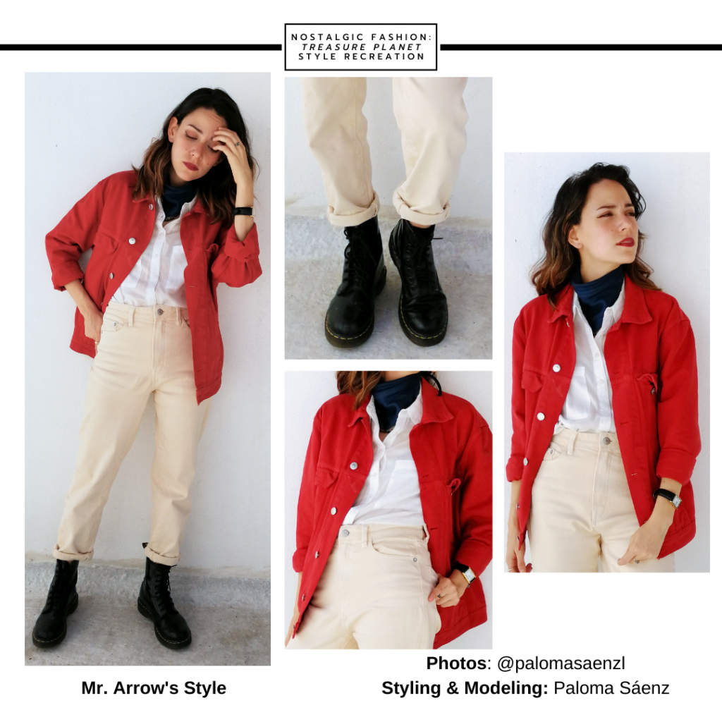 Outfit or costume idea inspired by Mr. Arrow from Treasure Planet -- red button down shirt, white oxford shirt, beige high-waisted jeans, combat boots, turtleneck