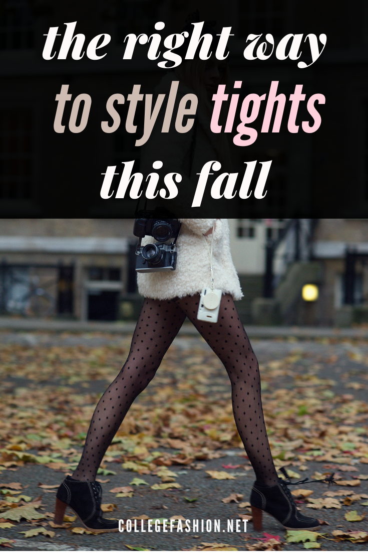 Header image - woman wearing an outfit with tights with the text: the right way to style tights this fall