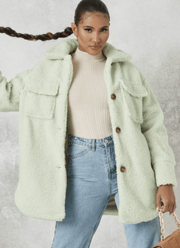 Green long teddy borg shacket from Missguided