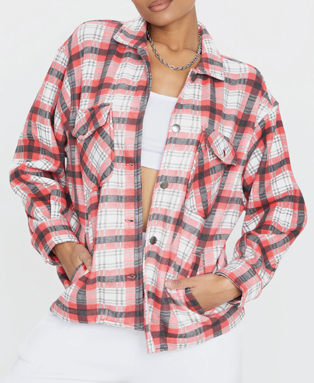 Red checked pocket front shacket from Pretty Little Thing