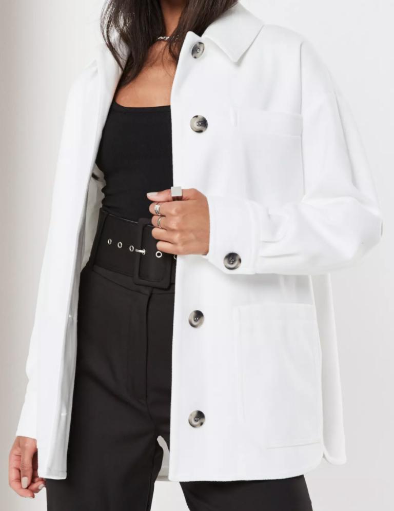 White oversized pocket shacket from Missguided