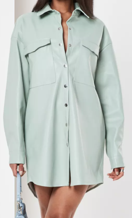 Sage faux leather longline shacket from Missguided