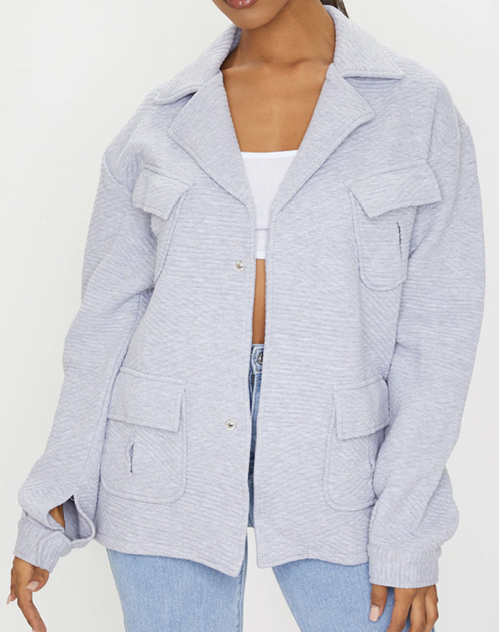 Grey waffle texture oversized shacket from Pretty Little Thing