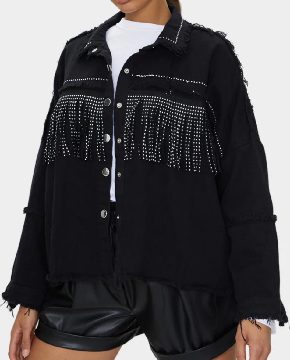Black fringe studded denim shacket from Pretty Little Thing