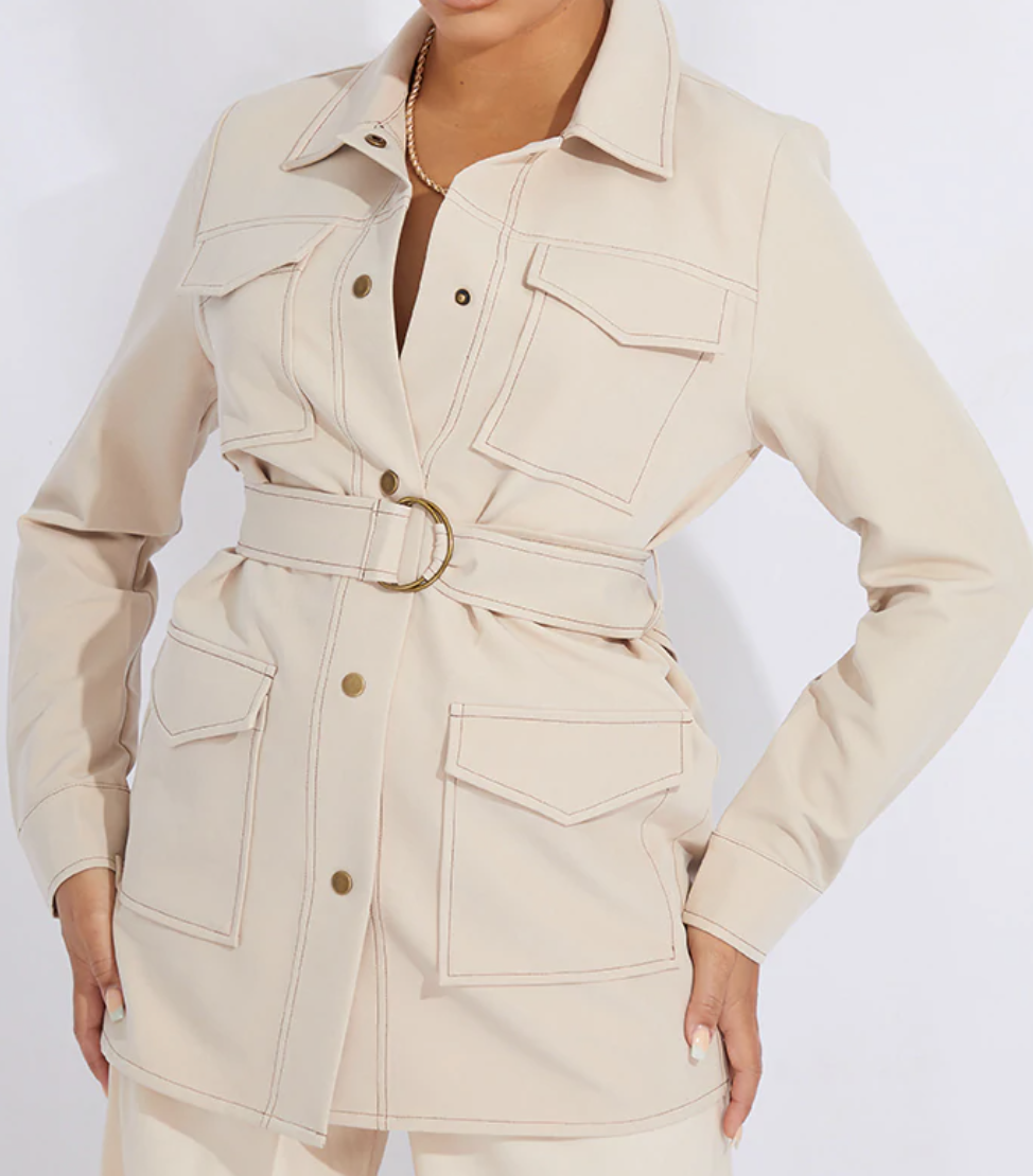 Stone contrast stitch d ring shacket from Pretty Little Thing