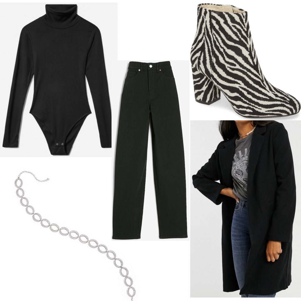 Photo of an outfit set with a black bodysuit and zebra print boots
