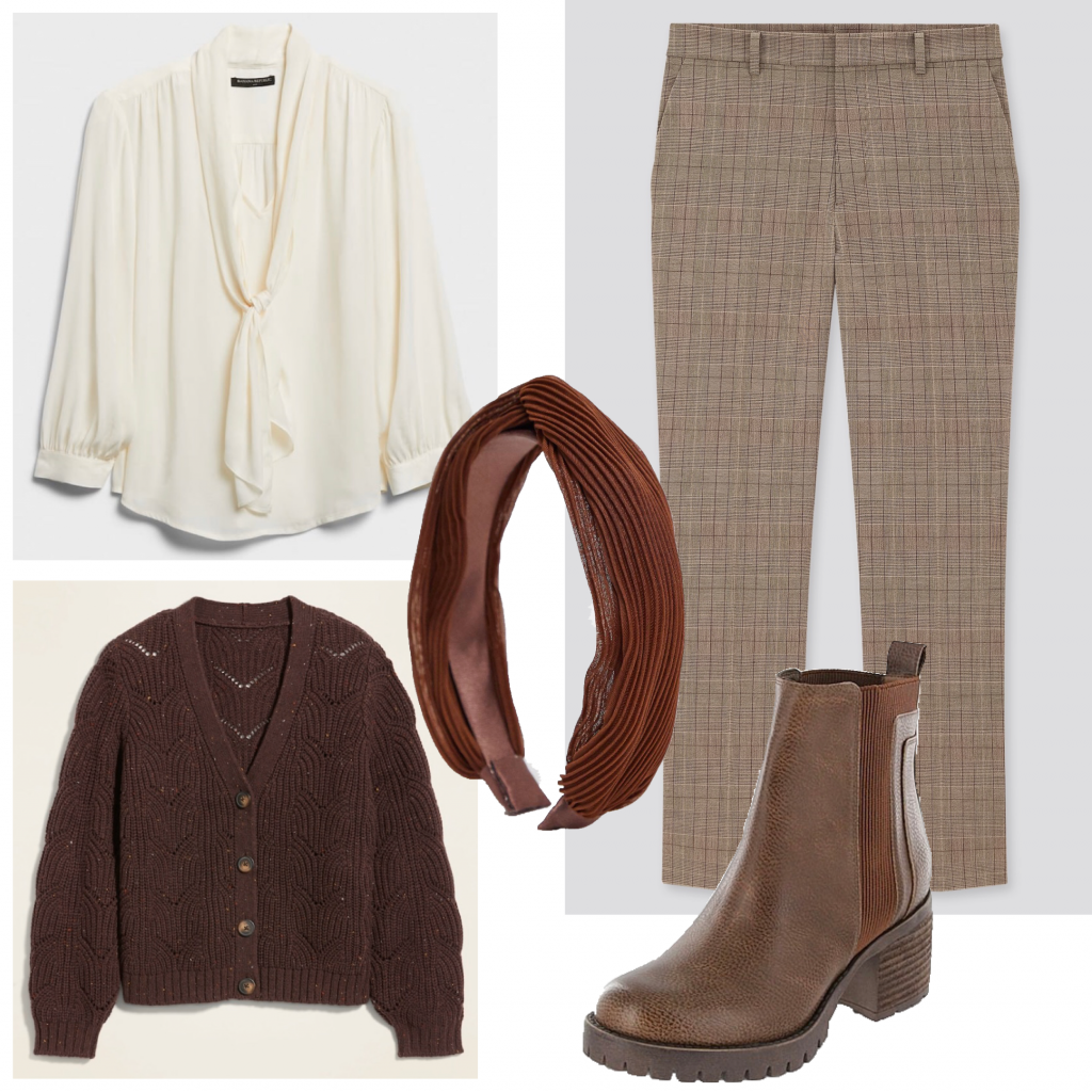 An outfit set with a cream blouse and plaid pants