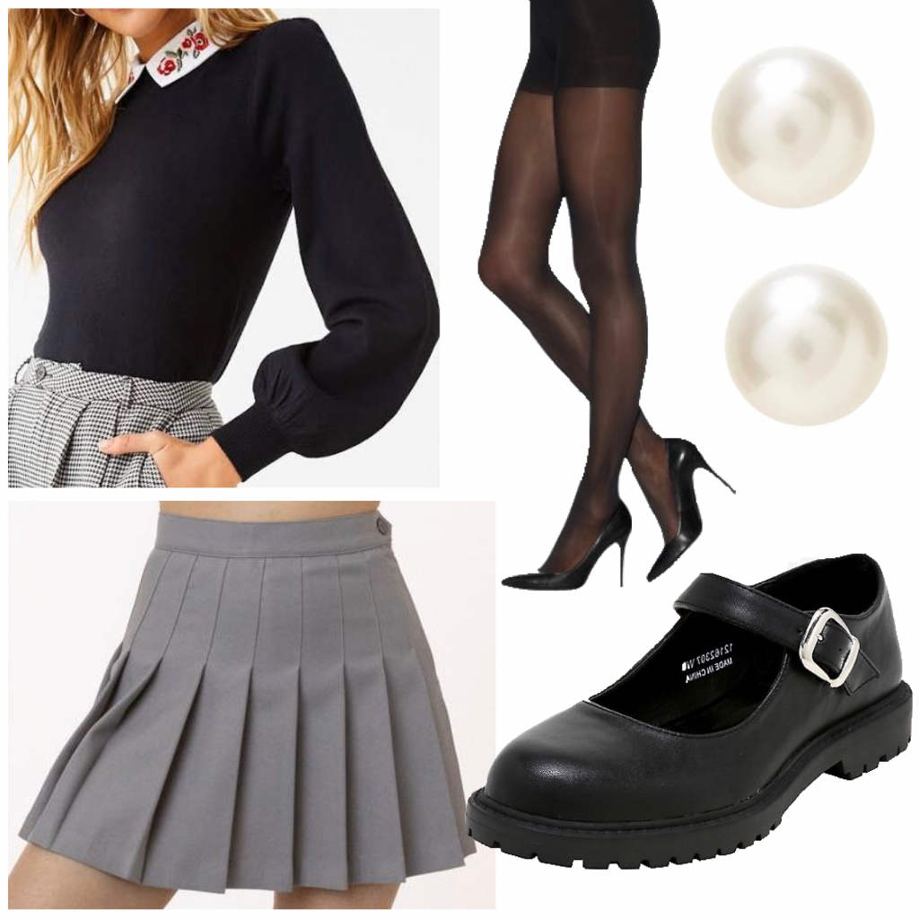 An outfit set with a collared sweater and a tennis skirt