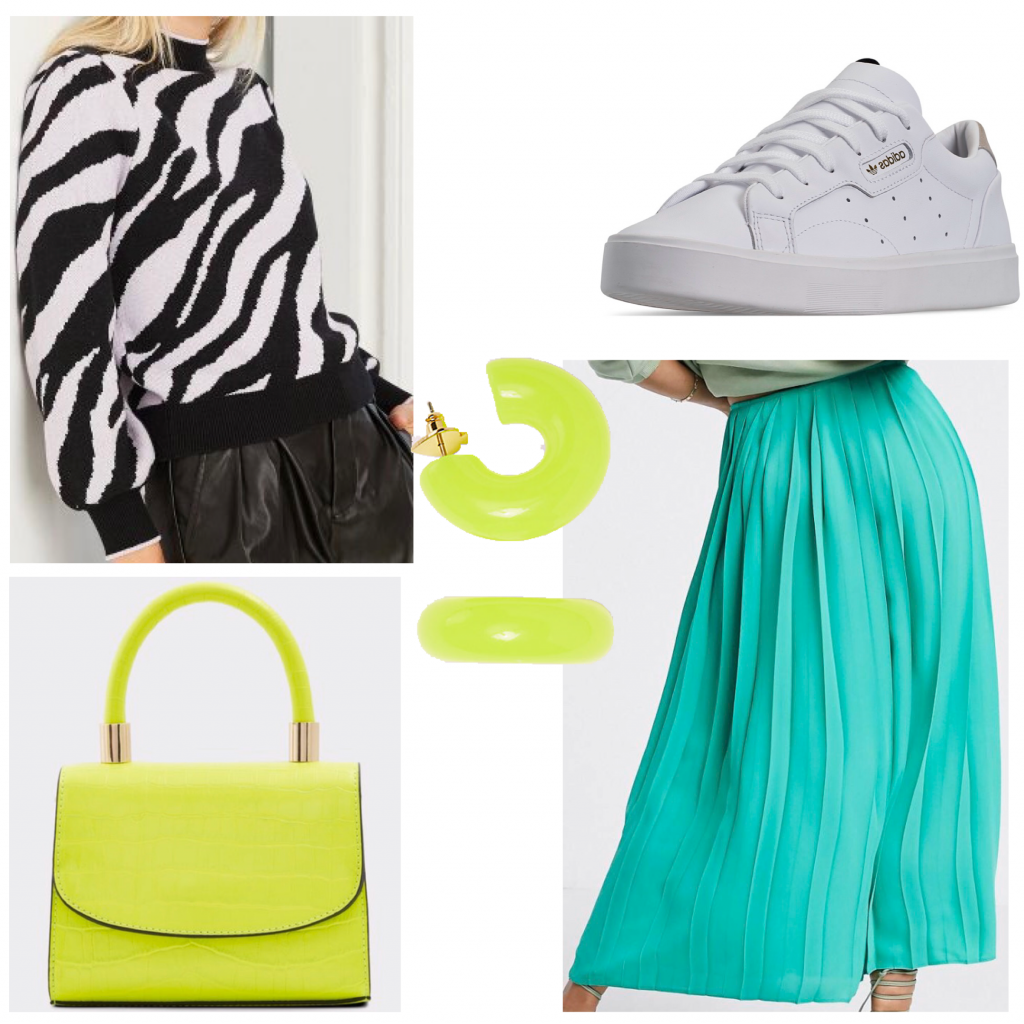 How to wear the zebra print fashion trend: Photo of an outfit set with a zebra print sweater and teal skirt