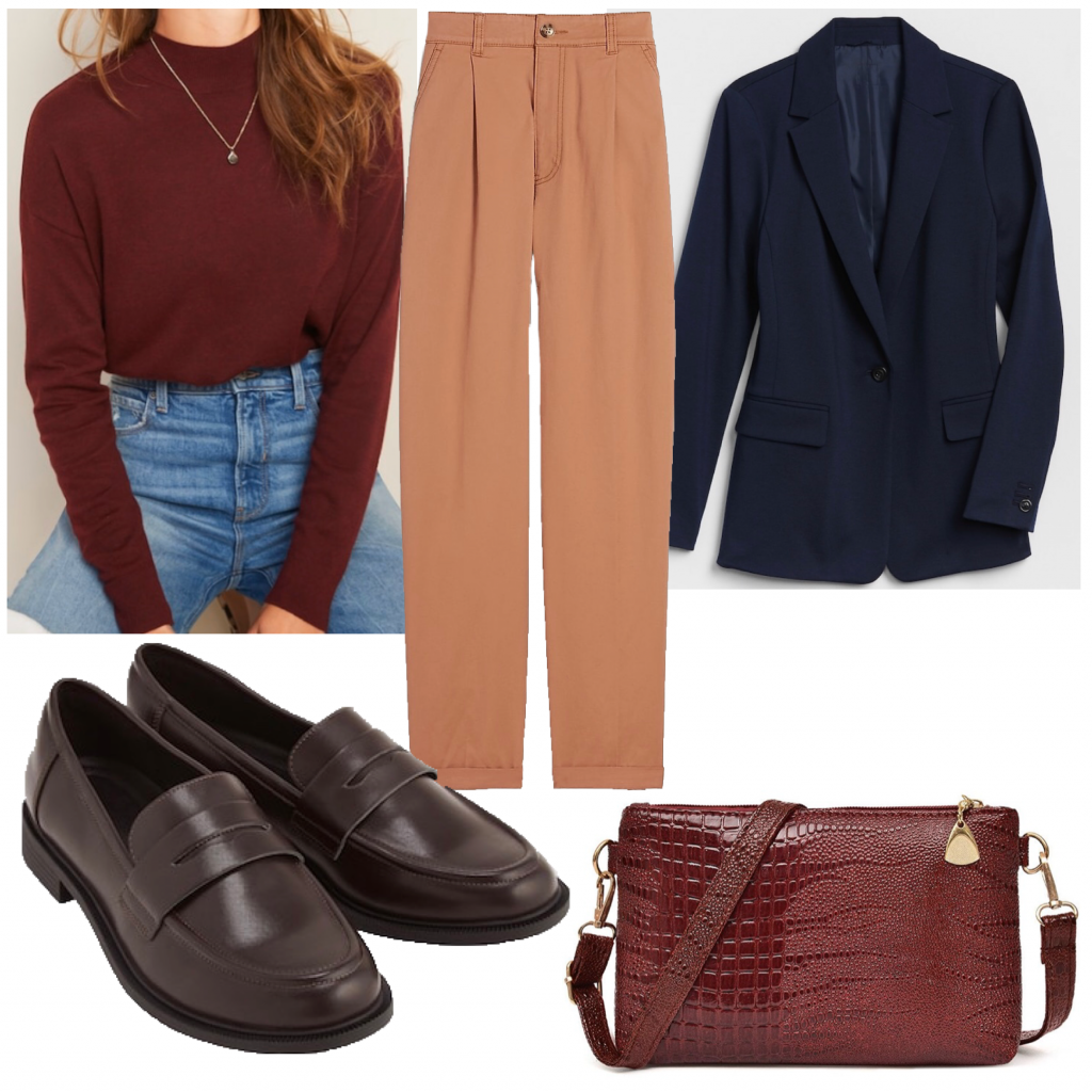 An outfit set with a burgundy turtleneck and a blazer