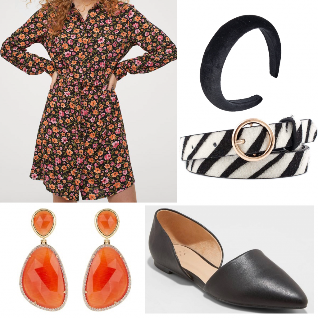Zebra print fashion trend: Photo of an outfit set with a floral dress and a zebra print belt