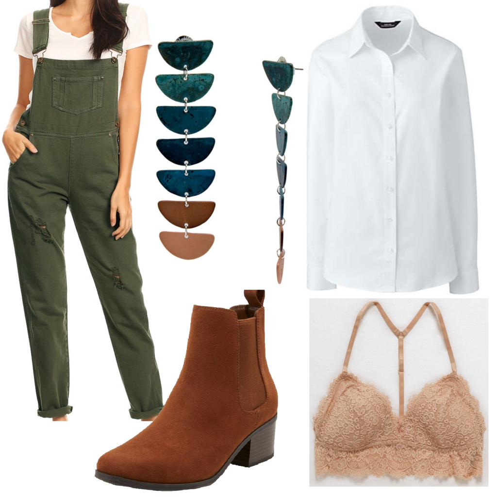 Photo of an outfit set with olive green overalls