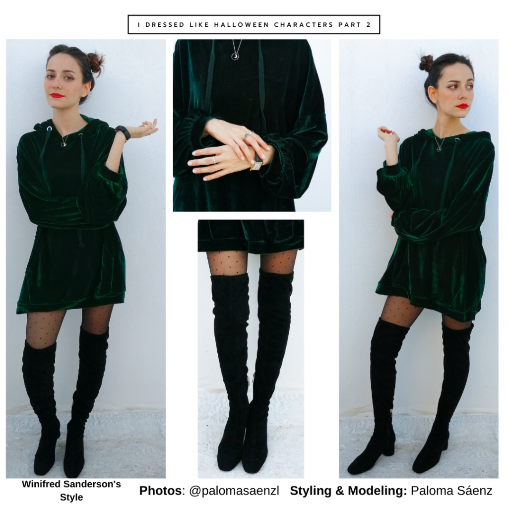 Winifred Sanderson inspired outfit with green velvet hoodie dress, patterned tights, over-the-knee boots