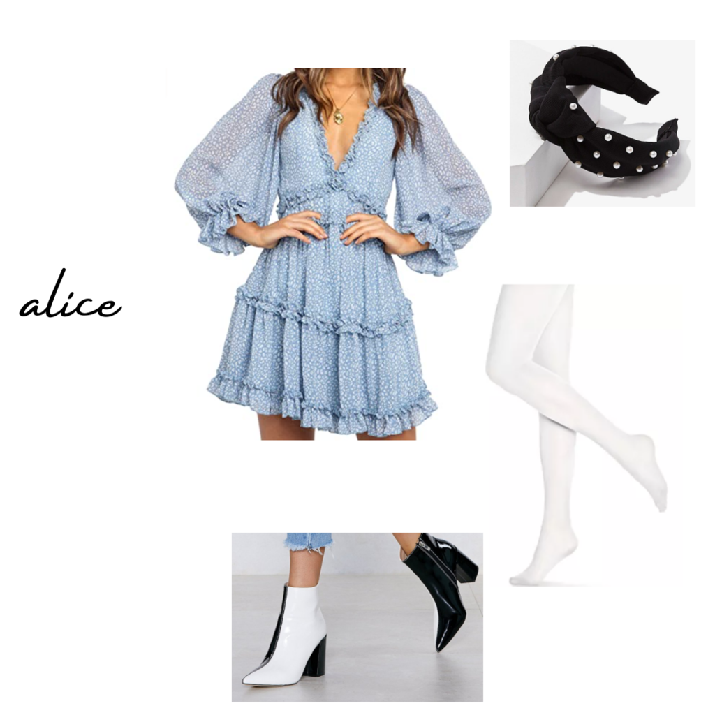 live-action disney alice in wonderland inspired fall outfit set: blue peasant dress, black headband with pearls, white tights, black and white booties