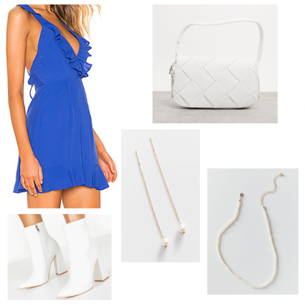 College outfit inspired by Michelle Obama: Blue ruffle dress, white boots, pearl jewelry