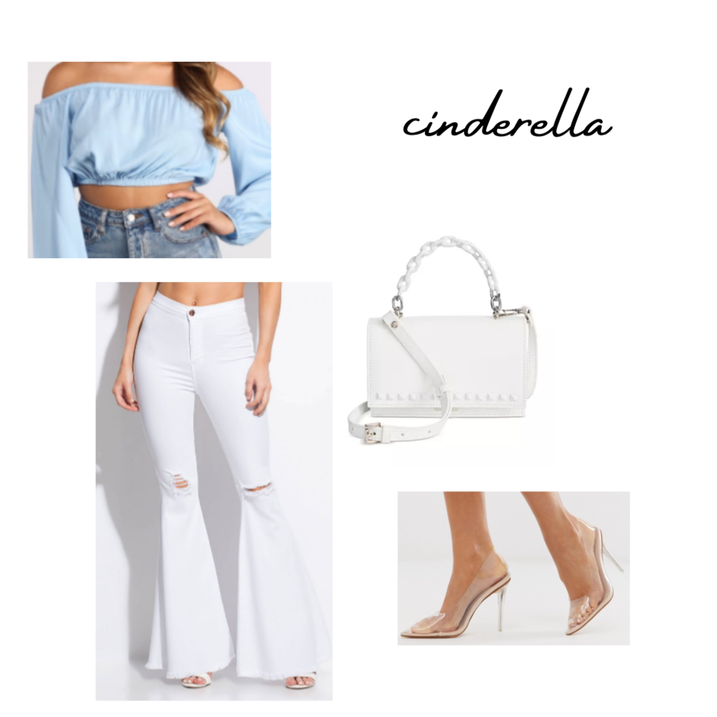 disney live action inspiration, cinderella fall outfit set: off-the-shoulder blue peasant top, white flare jeans, clear heels