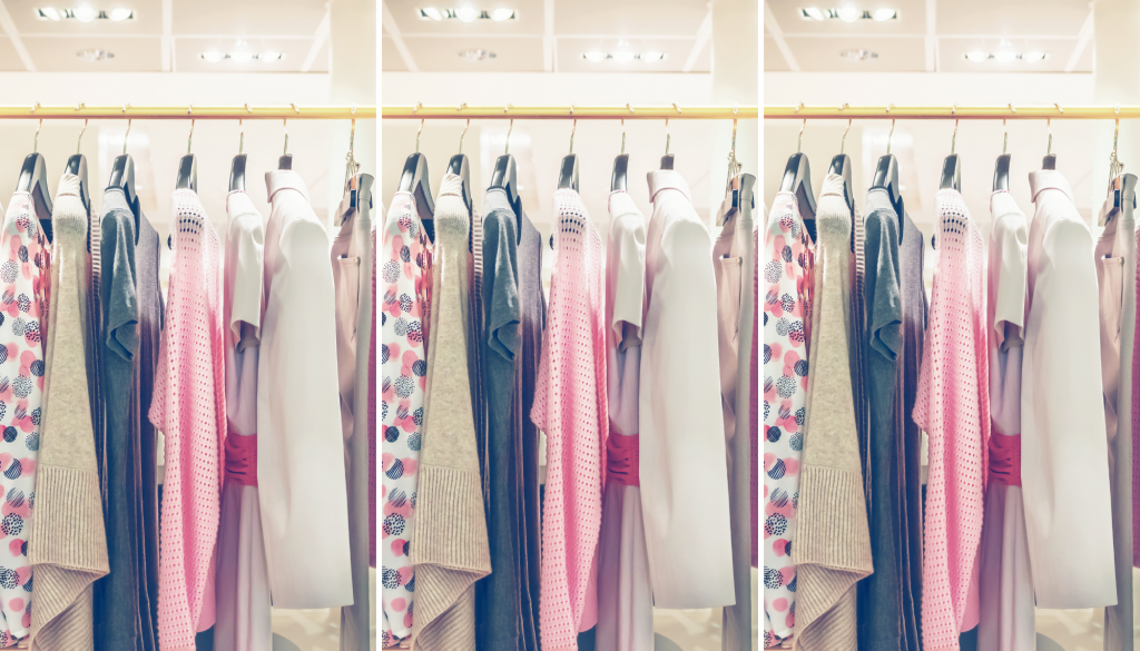 Closet filled with patterned pieces