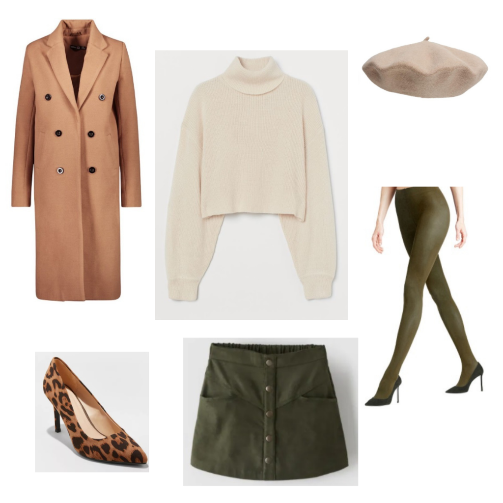 Outfit set 5: military green tights, denim skirt, cream sweater, long brown coat, leopard heels, beige beret