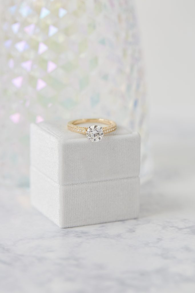 How to buy high quality jewelry -- photo of a yellow gold and lab grown diamond ring
