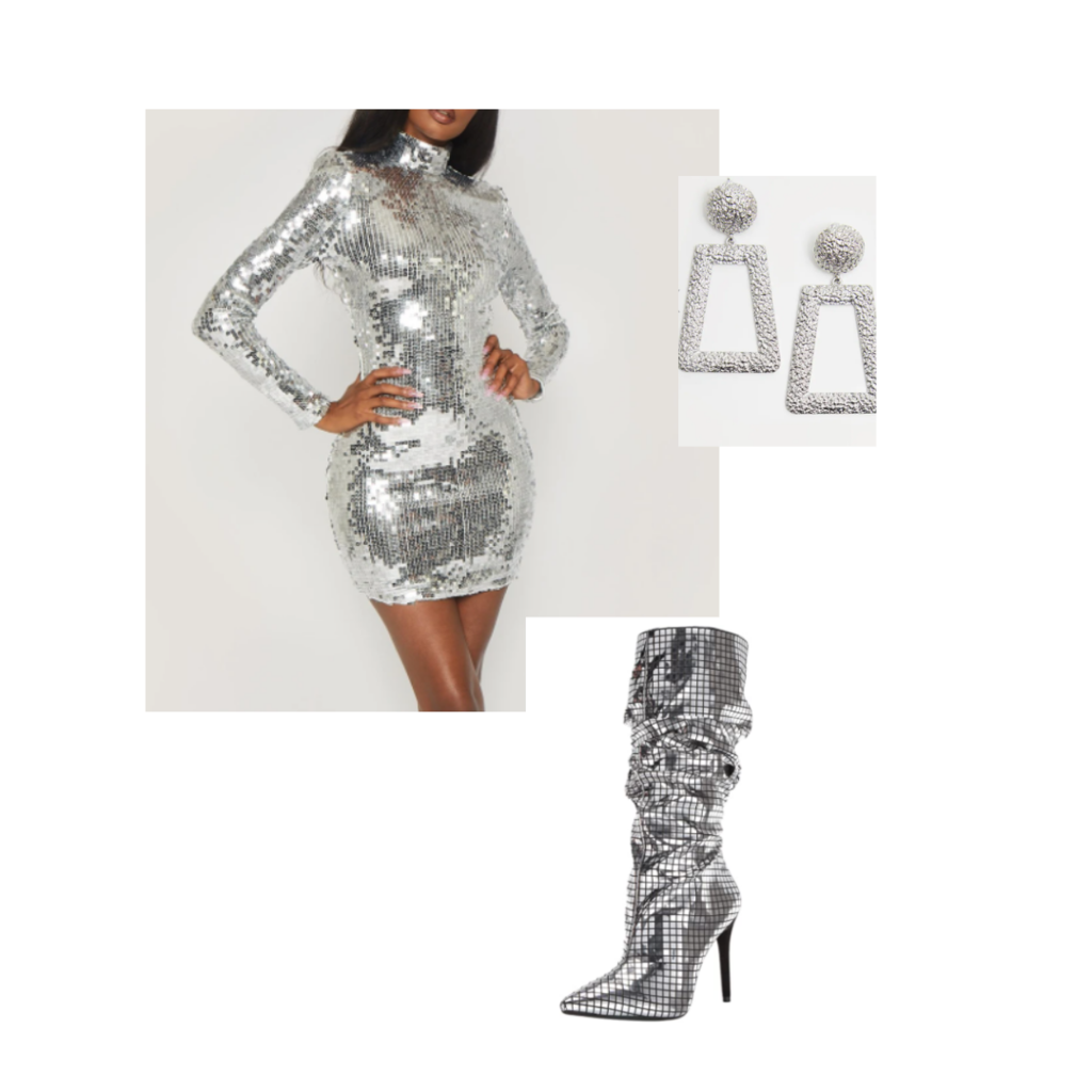 disco ball inspired outfit set: sequin dress, sequin boots