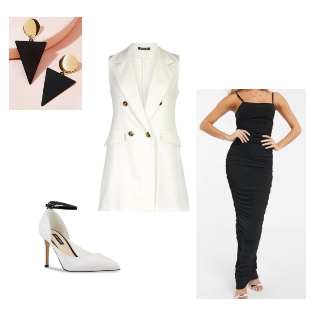 Desk to drinks look 4 - black bodycon maxi dress, white vest, pointy-toed pumps, black and gold earrings.