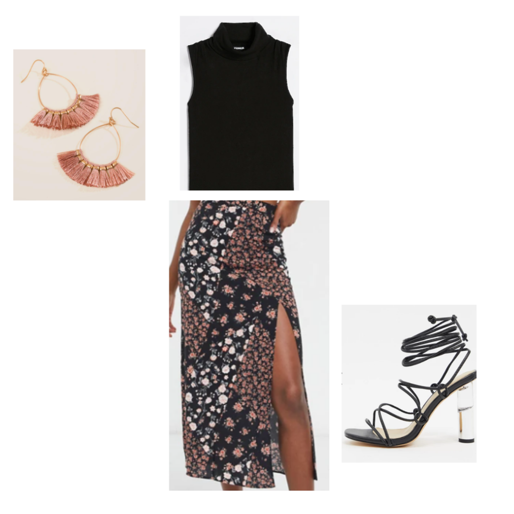 Desk to drinks look 2 - black sleeveless turtleneck, midi skirt with thigh slit, strappy black heels with lucite heel, rose fringe earrings