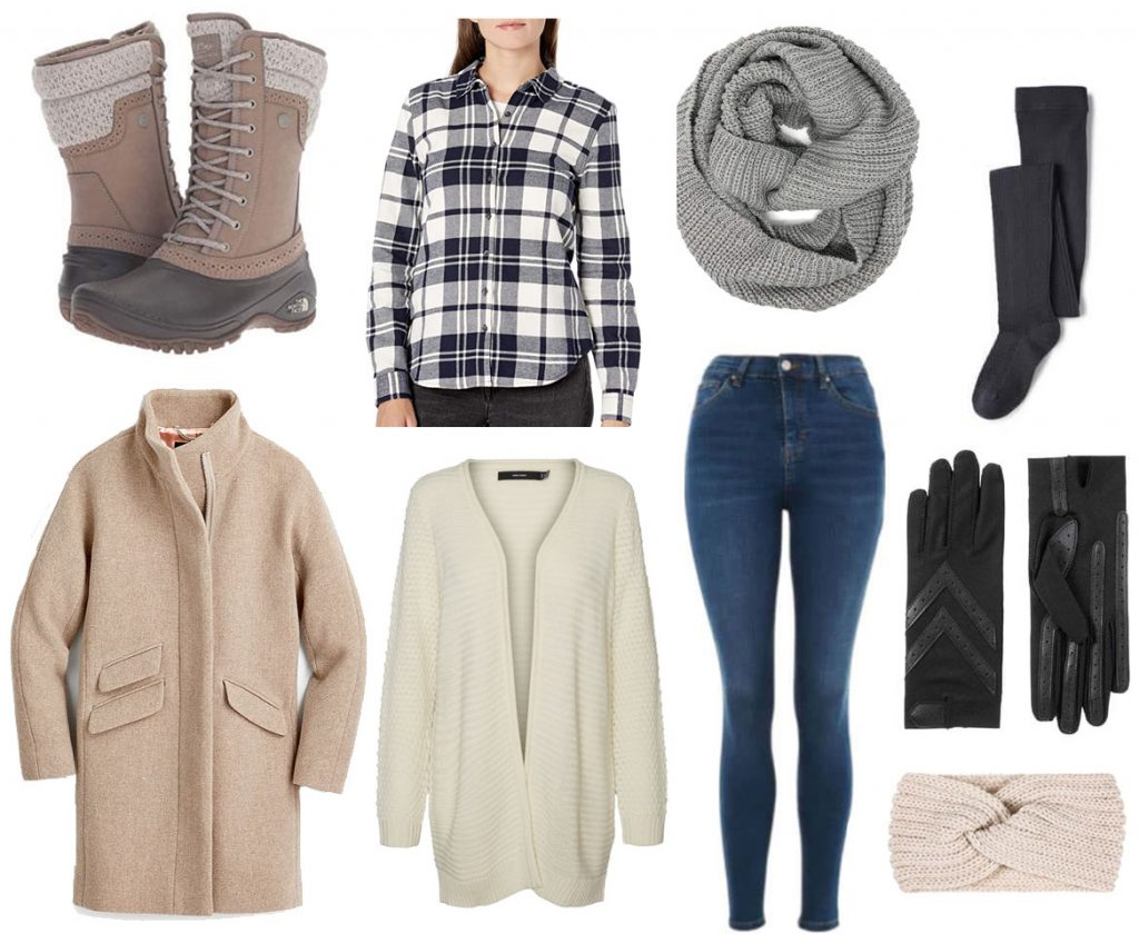 Outfit for freezing cold weather - plaid shirt, wrap coat, cardigan, jeans, winter boots, headband, knit scarf, fleece lined tights, leather gloves
