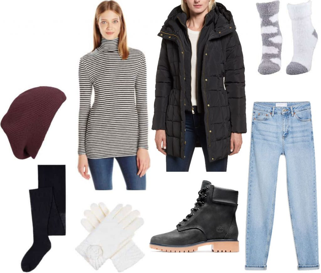 Freezing cold weather outfit: Turtleneck, quilted puffer coat, mom jeans, fur lined booties, fleece lined tights, gloves, knit hat, chenile socks