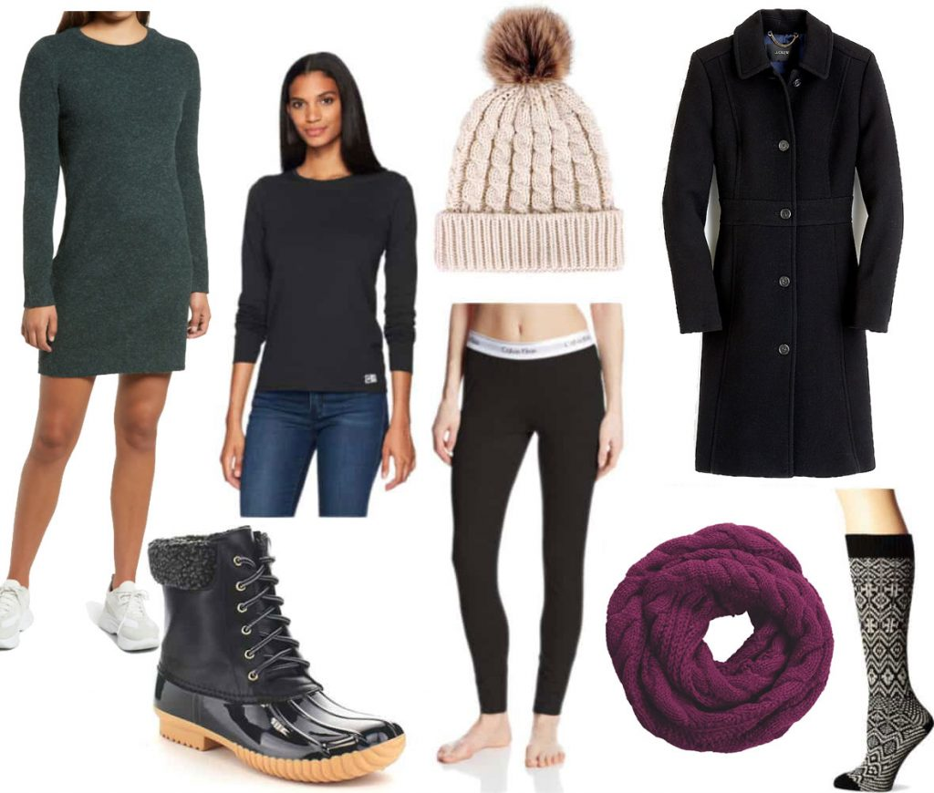 Freezing cold weather outfit: Dark green sweater dress, long sleeve black tee, black leggings, black duck boots, pom pom beanie hat, black wool coat, purple circle scarf, fair isle socks
