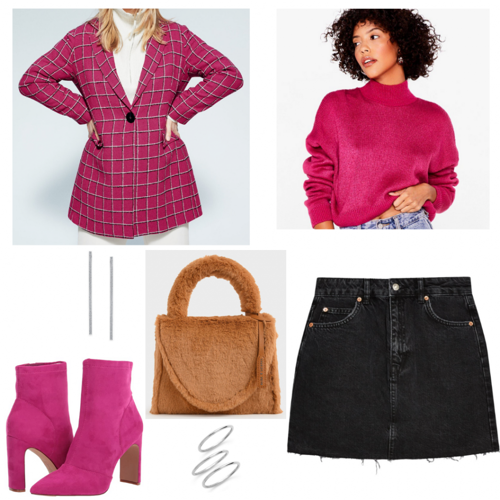 Emily in Paris outfit with fuchsia jacket, turtleneck sweater, pink boots, mini skirt, fuzzy bag, jewelry