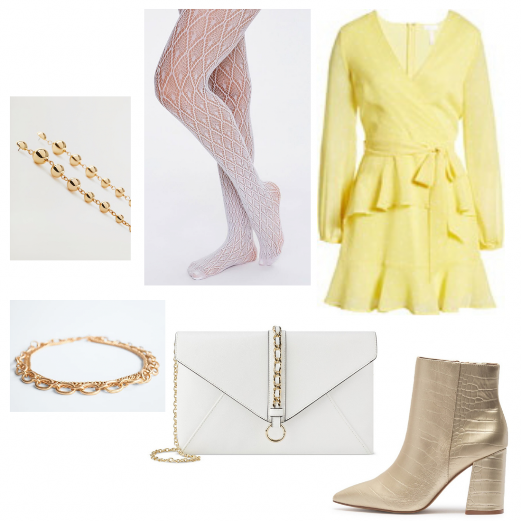 Michelle Obama outfit with yellow ruffle dress, gold metallic boots, white purse, gold jewelry