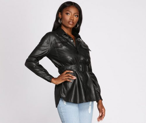 Windsor Tunnel Vision Black Faux Leather Button Up Jacket