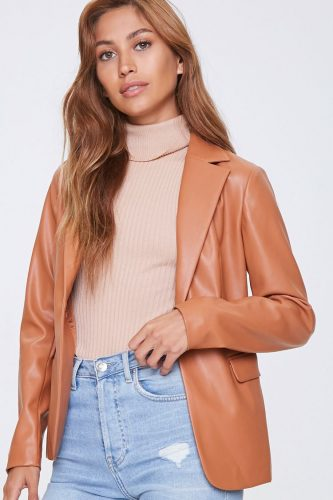 Forever 21 Camel Faux Leather Open Front Blazer
