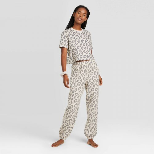 Target Leopard Print T-Shirt and Fleece Jogger Pants Set with Scrunchie