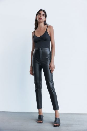 Zara black faux leather leggings