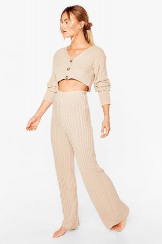 Nasty Gal Let It V Ribbed Knit Cardigan and Pants Lounge Set