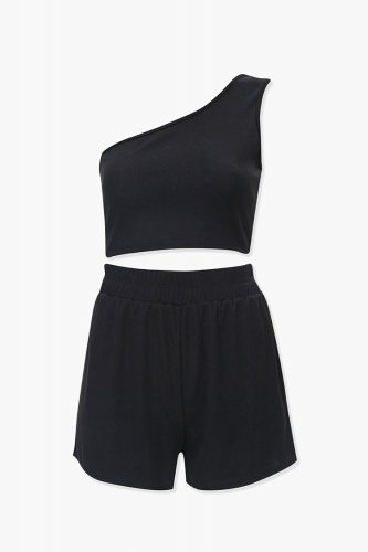 Forever 21 One Shoulder Crop Top and Shorts Set