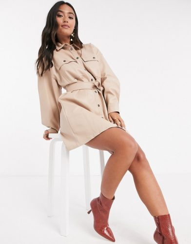 Asos Leather Look Belted Mini Shirt Dress in Stone