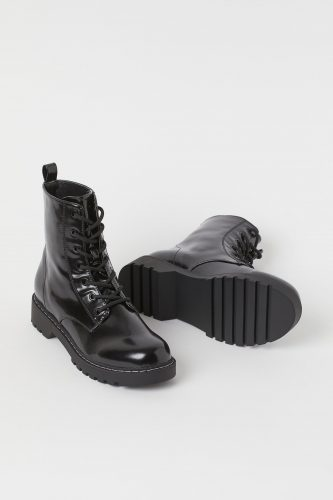 H&M Black Faux Patent Leather Lace Up Boot