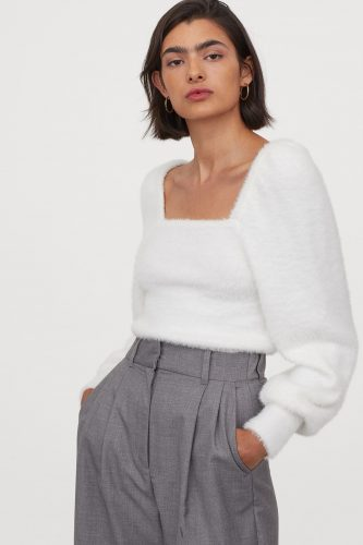 H&M Puff Sleeved Fluffy Sweater