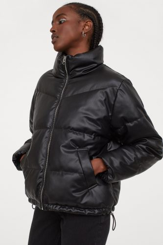 H&M Faux Leather Boxy Puffer Jacket