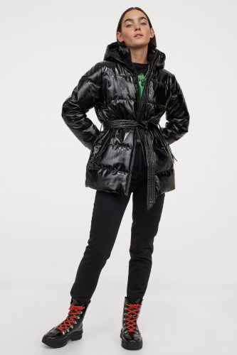 H&M Black Belted Patent Puffer Jacket