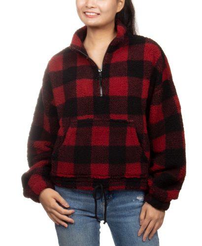Macy's Buffalo Plaid Quarter-Zip Sherpa Pullover