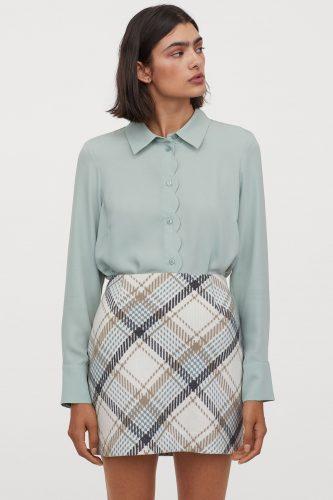 H&M Short Wool-Blend Plaid Skirt
