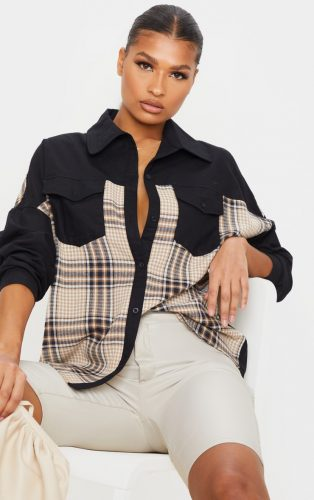 Pretty Little Thing Black Check Contrast Oversized Shirt