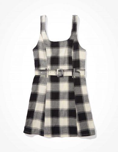 AE Plaid Belted Mini Dress