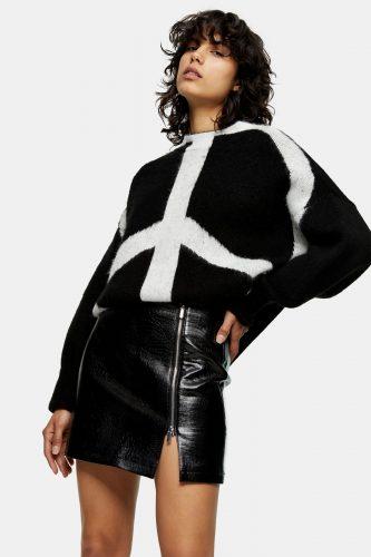 Topshop Black Crocodile PU Zip Up Mini Skirt