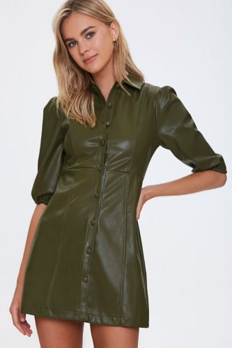 Forever 21 Faux Leather Olive Green Mini Dress